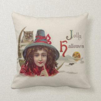 Cute Witch Owl Crescent Moon Pumpkin Pillow