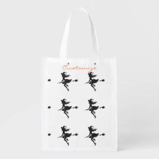 Cute Witch Riding Broom Thunder_Cove Halloween Reusable Grocery Bag