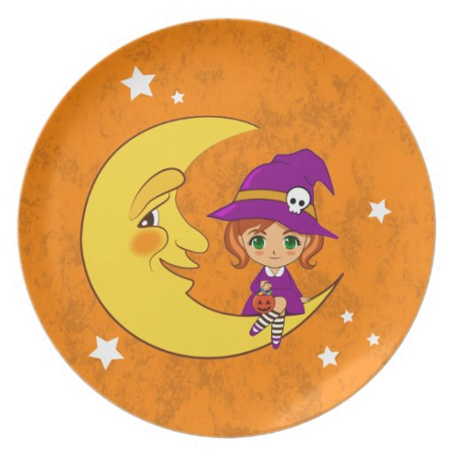 Cute Witch sitting on the moon Dinner Plates