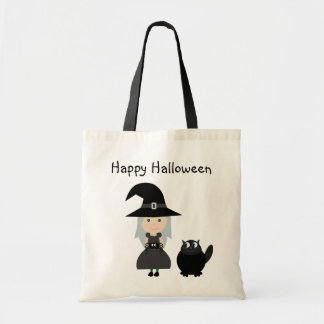 Cute Witch, Spider & Cat Halloween Bag