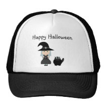 Cute Witch, Spider & Cat Halloween Cap Trucker Hat