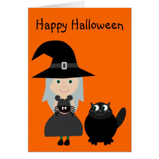 Cute Witch, Spider & Cat Halloween Greeting Card