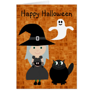 Cute Witch, Spider, Ghost & Cat Halloween Greeting Card