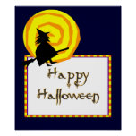 Cute Witch Swirly Moon Happy Halloween Poster