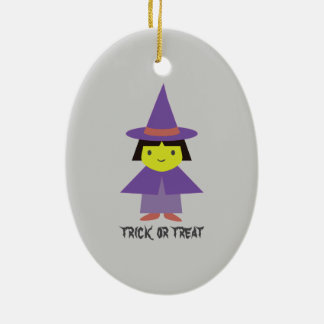 Cute Witch - Trick or Treat Ceramic Ornament