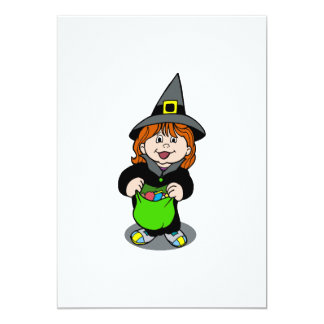 Cute witch trick or treater custom invites