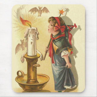 Cute Witch Wand Candle Bats Mouse Pad
