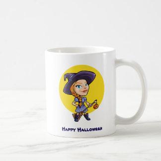 Cute witch with broom halloween cartoon coffee mug