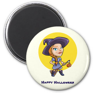 Cute witch with broom halloween cartoon magnet