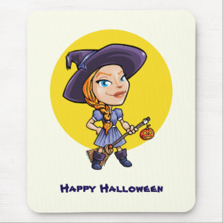 Cute witch with broom halloween cartoon mouse pad