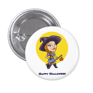 Cute witch with broom halloween cartoon pinback button