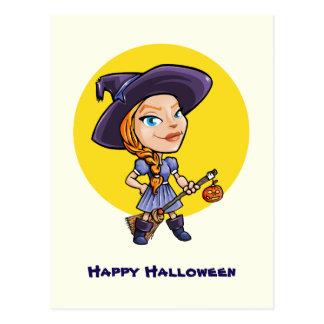 Cute witch with broom halloween cartoon postcard