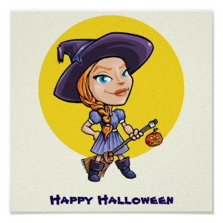 Cute witch with broom halloween cartoon poster