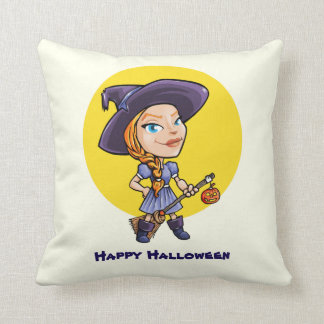 Cute witch with broom halloween cartoon throw pillow