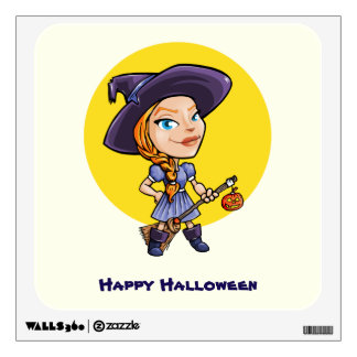 Cute witch with broom halloween cartoon wall sticker