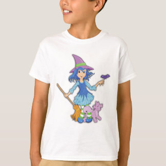 cute witch with cat tshirt for girls