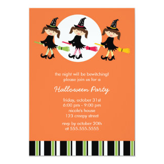 """Cute Witches Halloween Party Invitations 5"""" X 7"""" Invitation Card"""