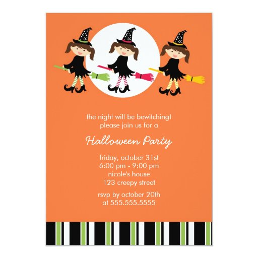 Cute Witches Halloween Party Invitations