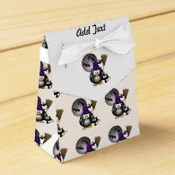 Cute Witchy Penguin with Halloween Scene Favor Box