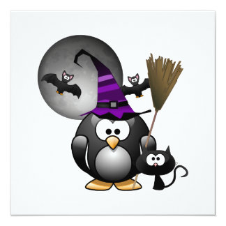Cute Witchy Penguin with Halloween Scene Custom Invitation