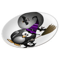 Cute Witchy Penguin with Halloween Scene Porcelain Plate