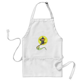 Cute with in front of full moon aprons