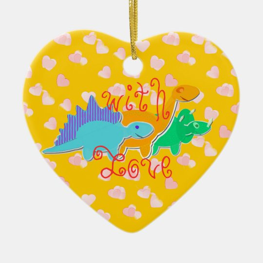 Cute With Love Dinosaurs Heart Pattern Ceramic Ornament