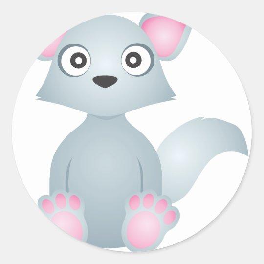 Cute Wolf Classic Round Sticker
