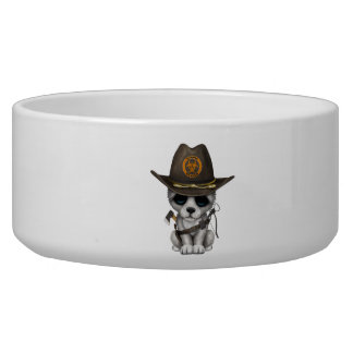 Cute Wolf Cub Zombie Hunter Bowl