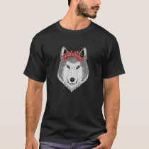 Cute Wolf Floral Gift I Wolves Head Flowers T-Shirt
