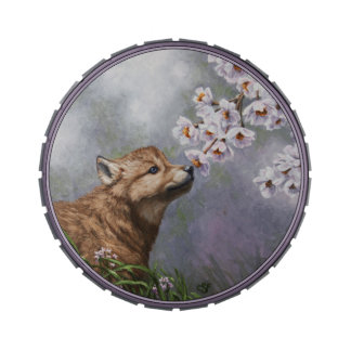 Cute Wolf Puppy Sniffing Flower Blossoms Jelly Belly Candy Tins