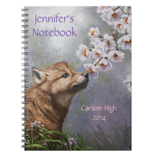 Cute Wolf Puppy Sniffing Flower Blossoms Notebook