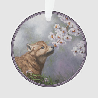 Cute Wolf Puppy Sniffing Flower Blossoms Ornament