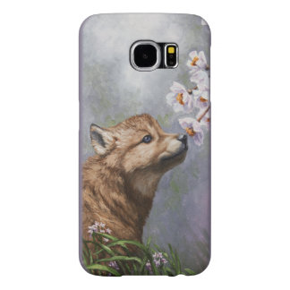 Cute Wolf Puppy Sniffing Flower Blossoms Samsung Galaxy S6 Case