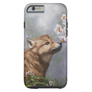 Cute Wolf Puppy Sniffing Flower Blossoms Tough iPhone 6 Case