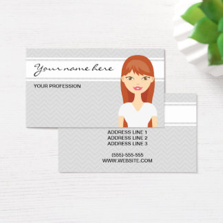 Cute Woman With Red Long Hair Business Card