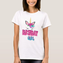 Cute womens Birthday girl word art t-shirt