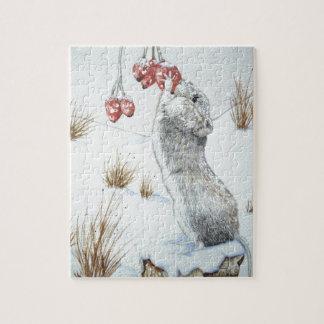 cute wood mouse winter snow scene wildlife art jigsaw puzzle