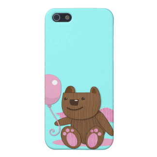 Cute wooden bear bearing gifts case for iPhone SE/5/5s