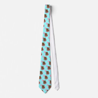 Cute wooden bear bearing gifts neck tie