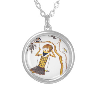 CUTE WOODEN DOLL ON SWING SILVER PLATED NECKLACE