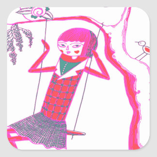 CUTE WOODEN DOLL ON SWING SQUARE STICKER
