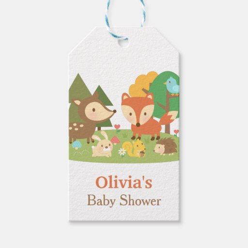Baby Gift Ideas Under $10 : Cute woodland animal baby shower party labels pack of gift