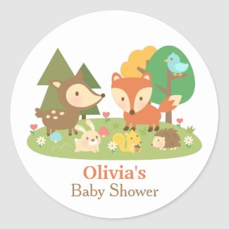 Cute Woodland Animal Baby Shower Party Labels Classic Round Sticker