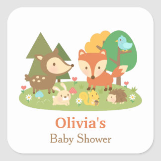 Cute Woodland Animal Baby Shower Party Labels Square Sticker