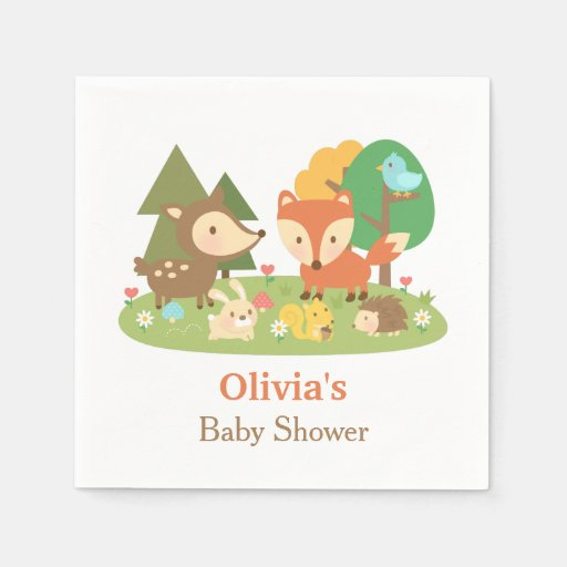 Cute Woodland Animal Baby Shower Party Supplies Napkin