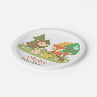 Cute Woodland Animal Baby Shower Party Supplies 7 Inch Paper Plate