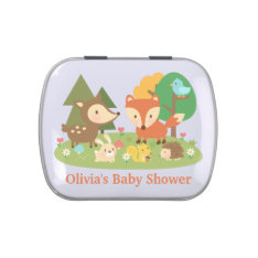 Cute Woodland Animal Baby Shower Party Treats Jelly Belly Candy Tins at Zazzle