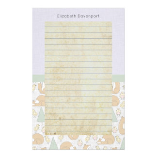 Cute Woodland Animal Creatures with Lined Stationery