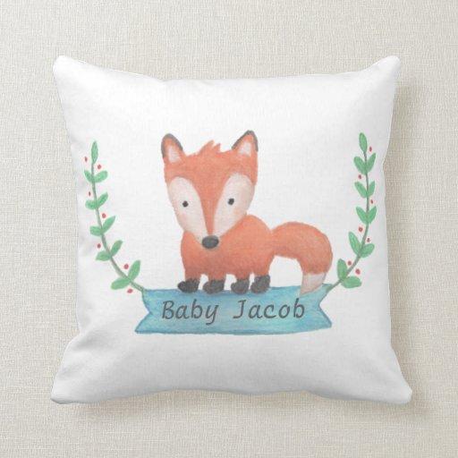 Animal Pillows For Nursery : Cute Woodland Animal Fox Baby Nursery Room Decor Throw Pillows Zazzle